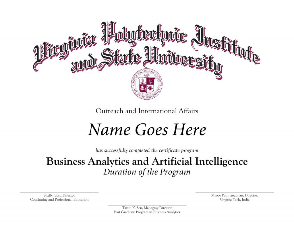 Sample Certificate Business Analytics and AI